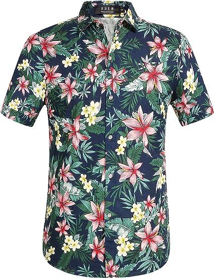 SSLR Camisa Manga Corta de Flores Tropicales Veraniega de Algodón ...