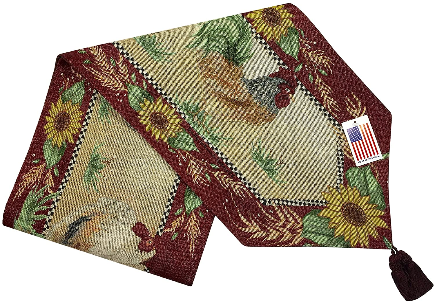 Manual Chanticleer Rooster Sunflowers Lined Tapestry Tablerunner UBIC72 13x72