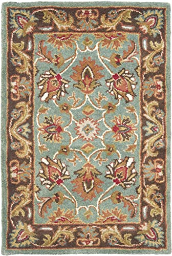 Safavieh Heritage Collection HG812B Handcrafted Traditional Oriental Blue and Brown Wool Area Rug 2'3″ x 4'