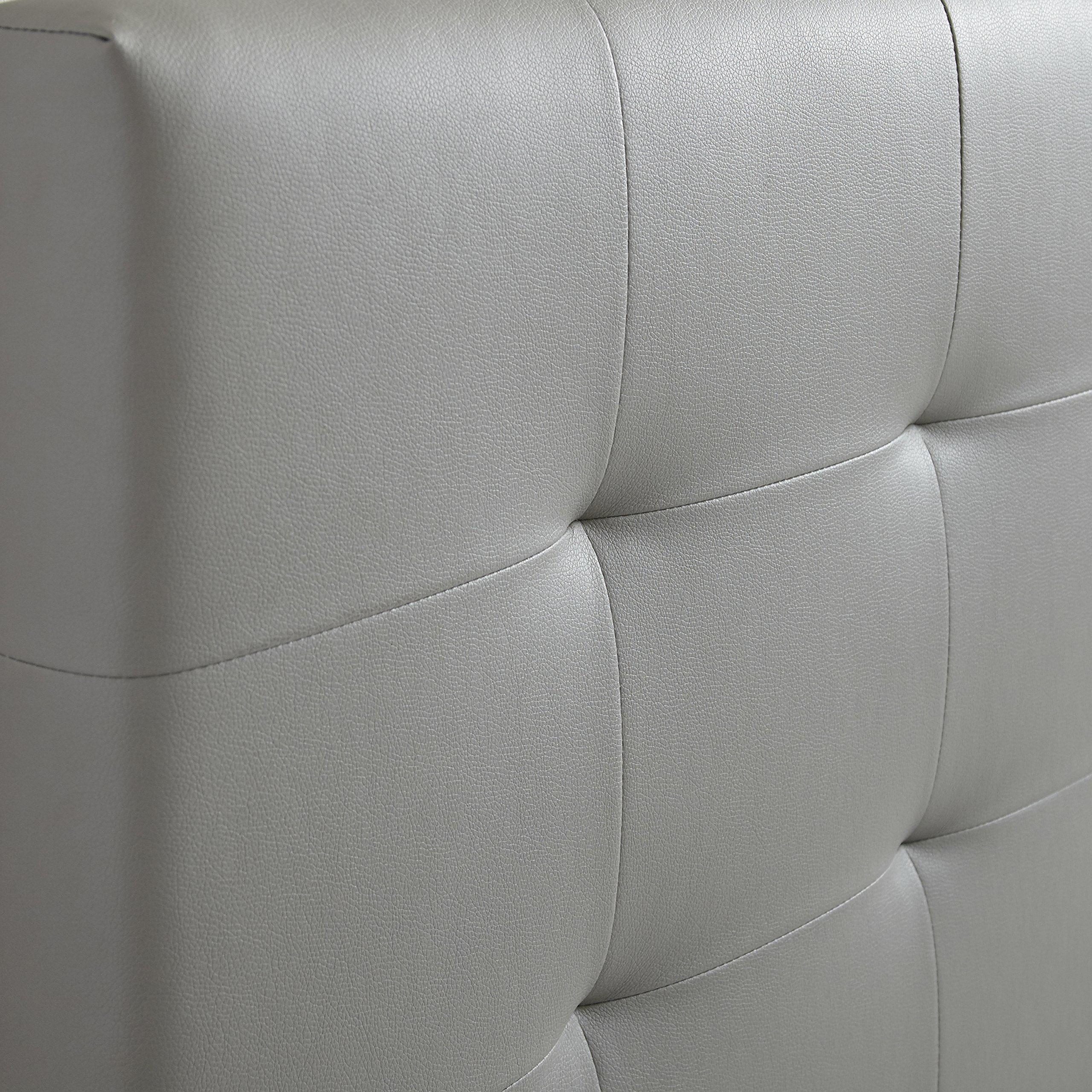 Flex Form Murphy Upholstered Platform Bed Frame with Tufted Headboard: Faux Leather, Grey, Queen by Flex Form (Image #3)