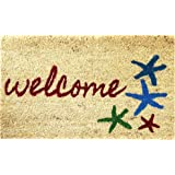 "Sand and Starfish 18"" by 30"" Coco Coir Doormat, Beach Welcome Mat"
