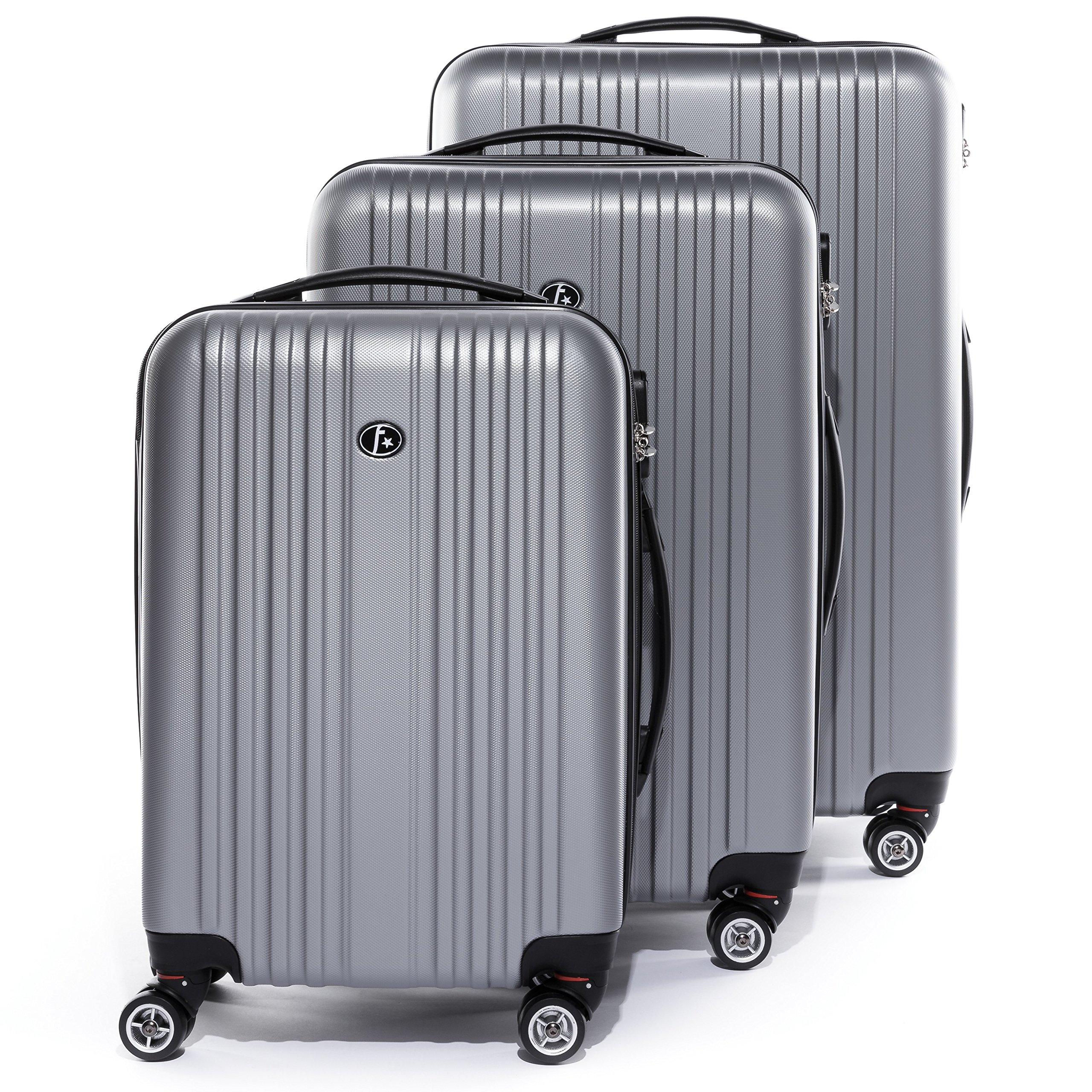 FERGÉ Trolley set - 3 suitcases hard-top cases TOULOUSE - three pcs hard-shell luggage with 4 wheels (360) - silver ABS by FERGÉ