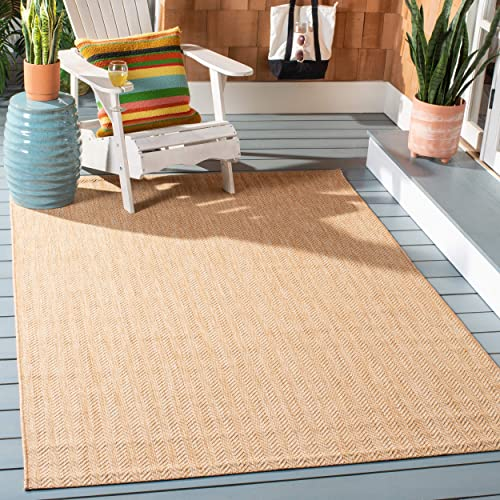 """Safavieh Courtyard Collection CY8022-03012 Natural and Cream Indoor/ Outdoor Area Rug 5'3"""" x 7'7"""""""
