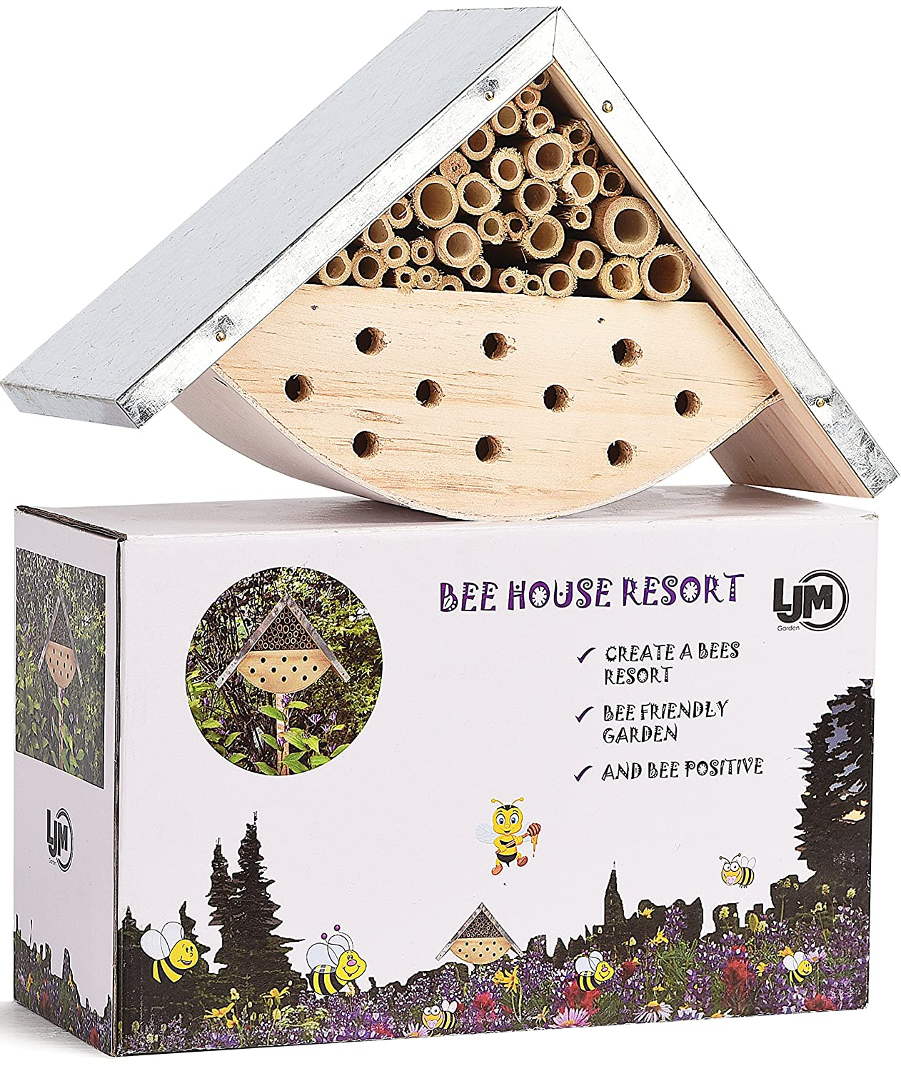LA JOLIE MUSE Bee House Insect Bug Hotel Kit Viewing Solitary Bee hive Home Outdoor Garden Decor Kids Gift