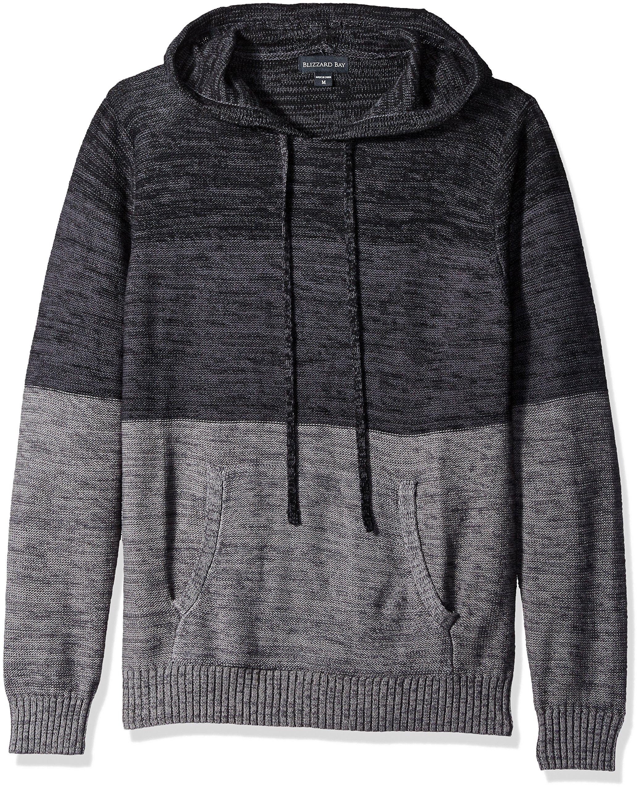 Blizzard Bay Men's Color Block Hooded Sweatshirt, Grey/Black, Small