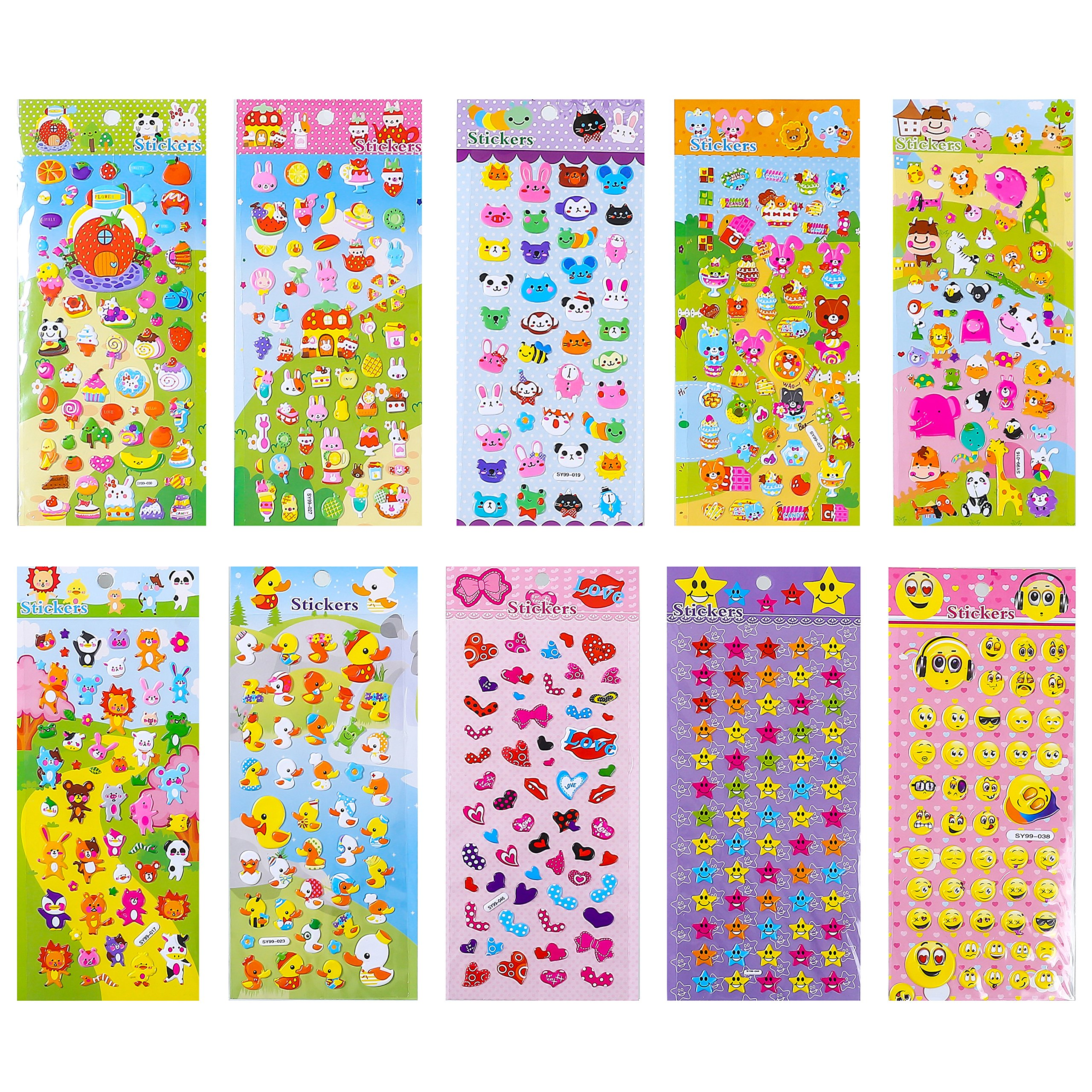 Stickers 1000 + and 20 Different Scenes , 3D Puffy Stickers, Year-Round Sticker Bulk Pack for Teachers School,Students, Toddlers,Scrapbooking, Girl Boy Birthday Present Gift, Including cars and more