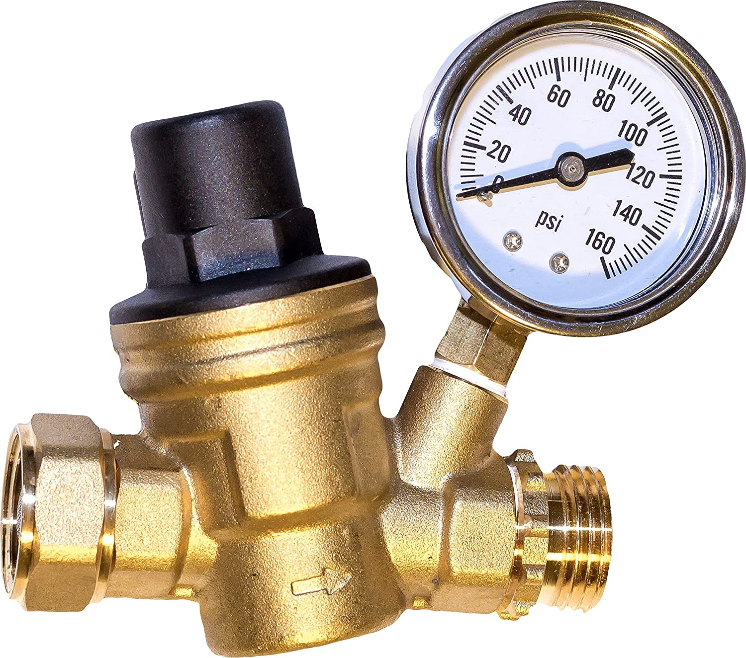 water pressure regulator brass lead free adjustable water pressure reducer for ebay. Black Bedroom Furniture Sets. Home Design Ideas
