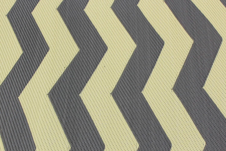 Amazon.com : Rv Mat Patio Rug Chevron Pattern 9x12 Tan/Charcoal : Garden U0026  Outdoor