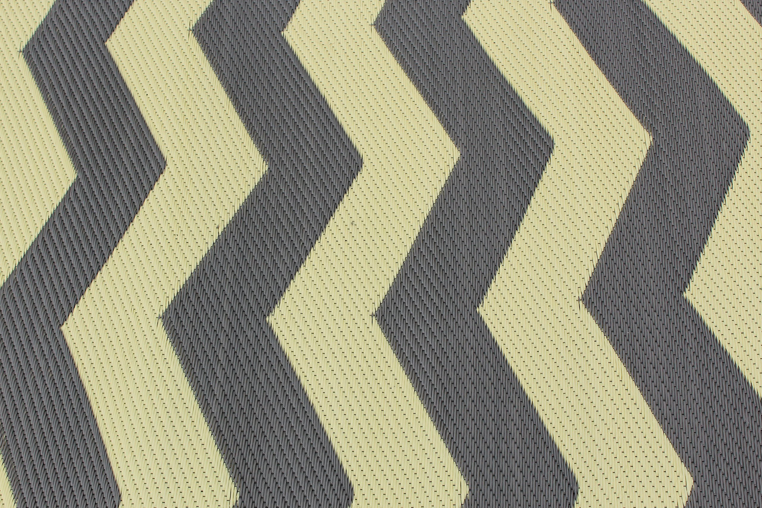Rv Mat Patio Rug Chevron Pattern 9x16 Tan Charcoal