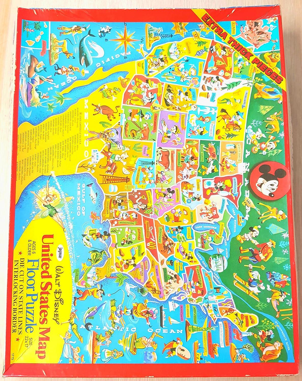 Amazon.com: Walt Disney United States Map Floor Puzzle: Toys ...