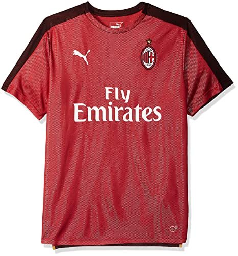 91b2be48 PUMA Men's Standard AC Milan Stadium Jersey SS with Sponsor, Chili Pepper  Black, ...