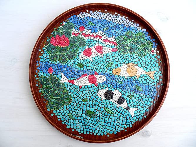 prodigious Koi Mosaics Part - 9: Egg Shell Mosaic Japanese Carp Fish Koi on Wooden Tray