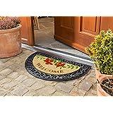 Schmutzfangmatte / Fußmatte / Fussmatte / Fußabstreifer / Fußabtreter / Schmutzmatte Modell Halbrund - Blumen - Welcome - Kokos - ca 45 x 75 cm