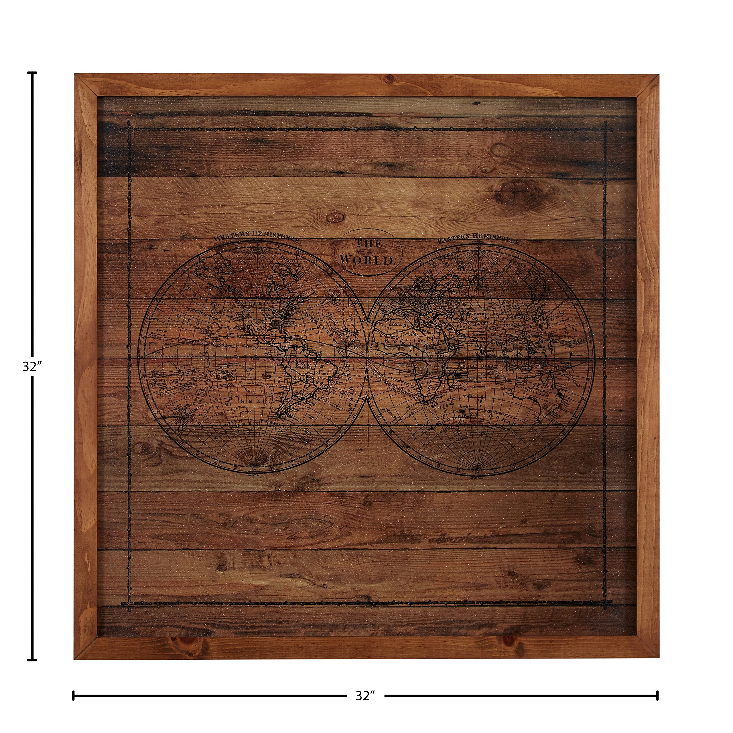 Modern Black Ink Global Map on Paper, on Wood, Brown Frame, 32'' x 32'' by Stone & Beam (Image #4)