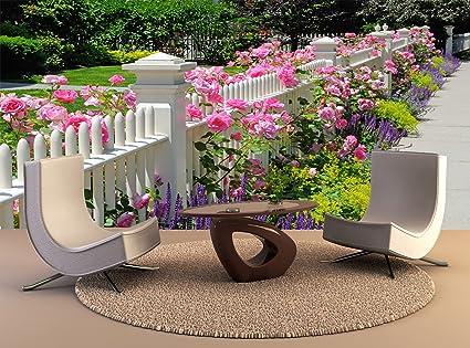 Papel tapiz de alta calidad de impresión de póster mural jardín cercado con rosas rosas decoración de Arte Mural Foto Papel tapiz: Amazon.es: Bricolaje y herramientas