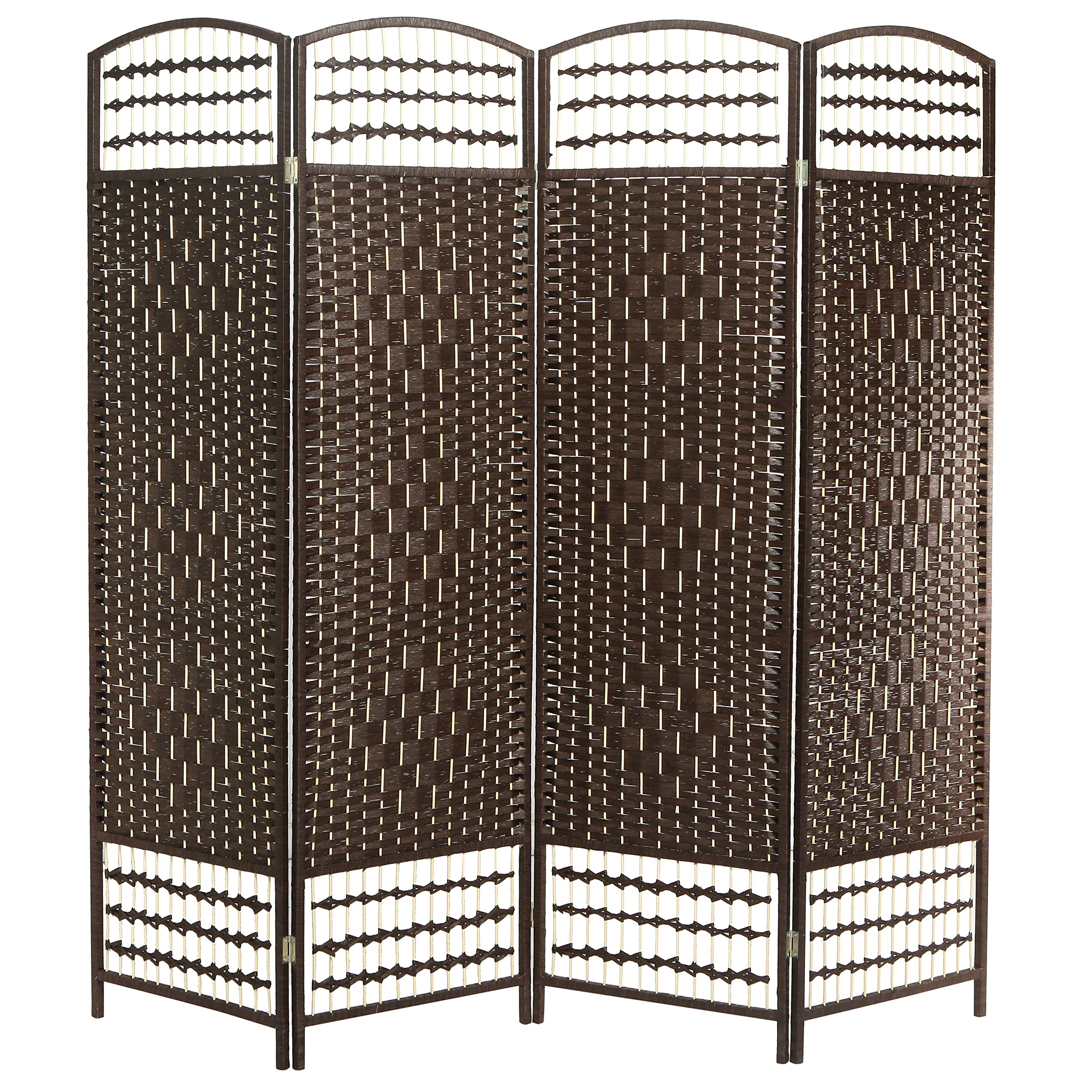 MyGift 4 Panel Woven Design Room Divider, Wood Frame Privacy Screen, Brown