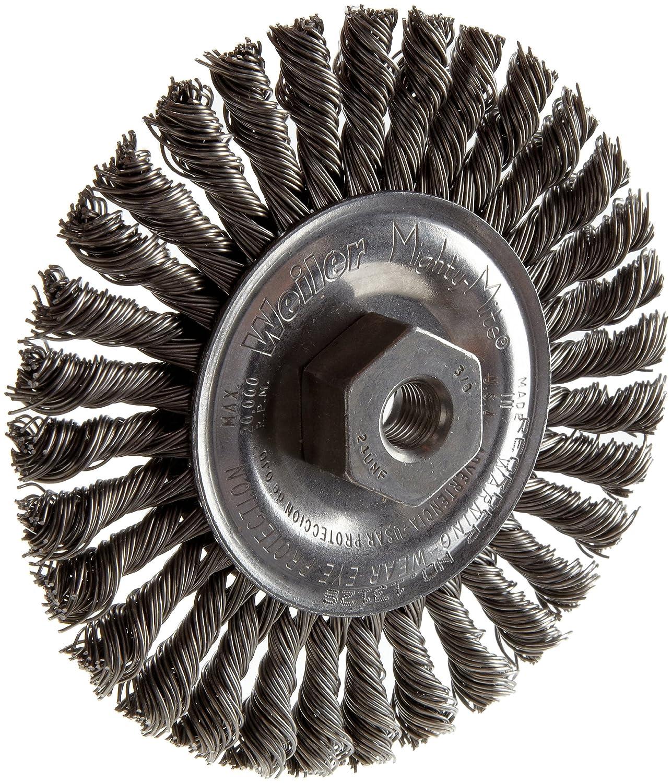 M14 X 2.0 Arbor 0.020 Wire Size 3//16 Face Width Steel Bristles Weiler 13127 Dualife Stringer Bead Twist Knot Wire Wheel Brush 4 Diameter Very Narrow Face