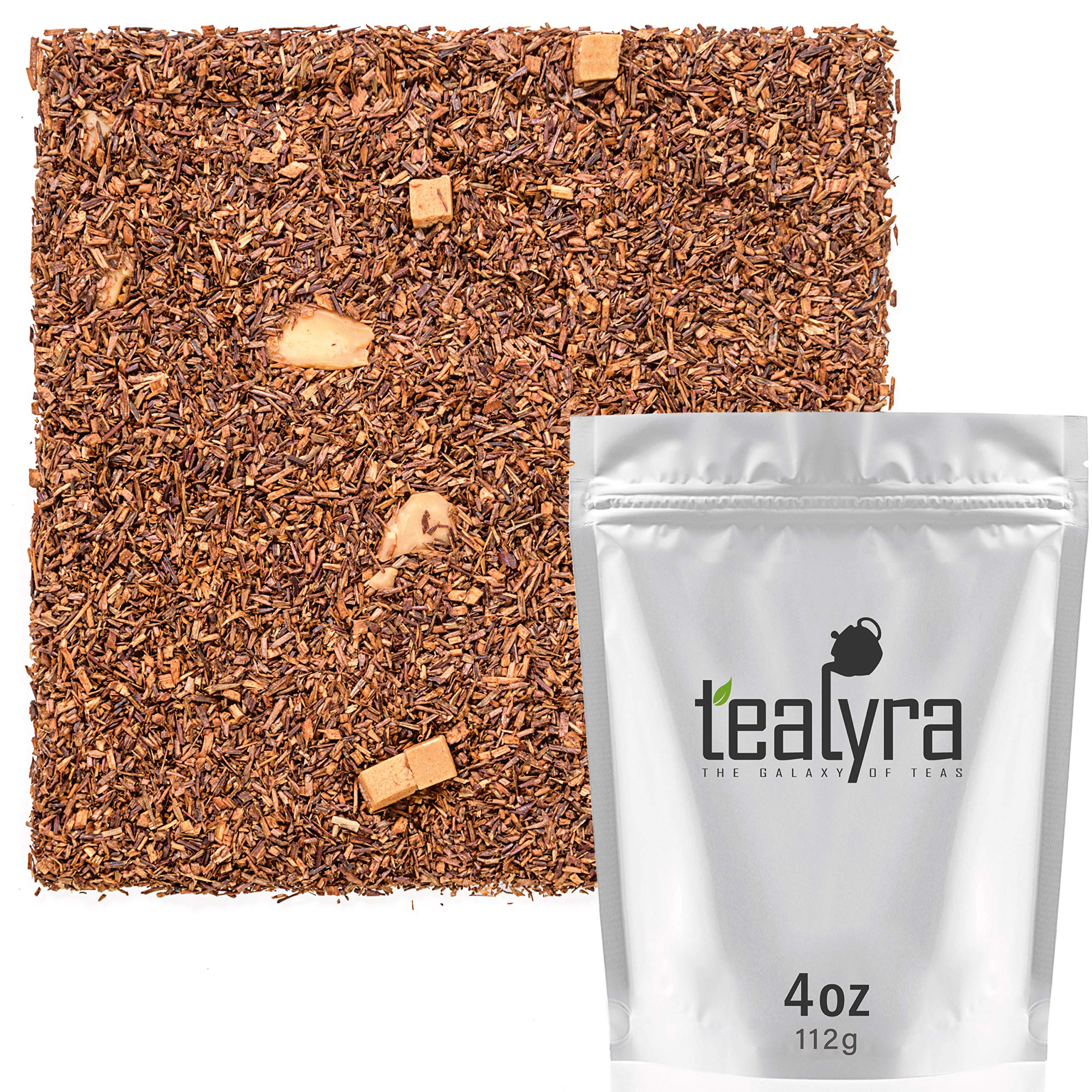 Tealyra - Rooibos Toffee Caramel - Red Bush Herbal Leaves Tea - Cocoa - Almond - Loose Leaf Tea - Caffeine Free - 112g (4-ounce)