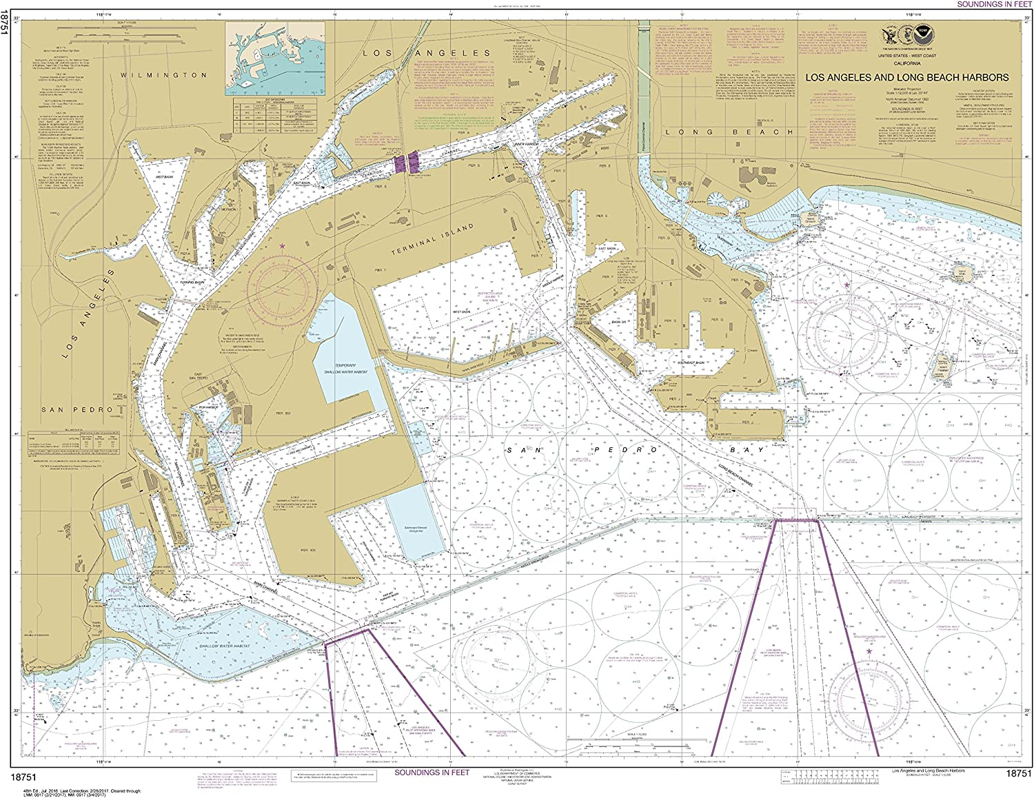 NOAA Chart 18751 Los Angeles and Long Beach Harbors 35.18 X 46.45 Water-Resistant Chart