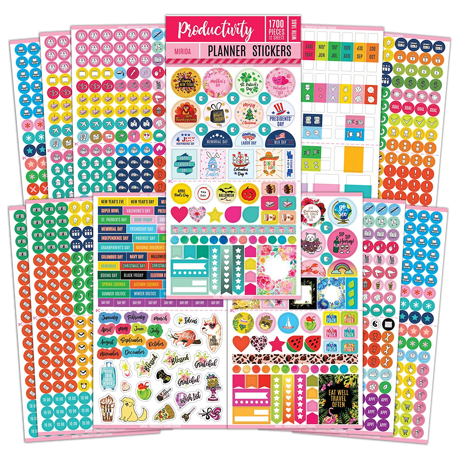 Mirida Planner Stickers for Journaling, Agenda, and Calendar, for Adults. Productivity Set of 12 Sheets - 1700 Mini Icons, Work, Holiday, and Monthly ...