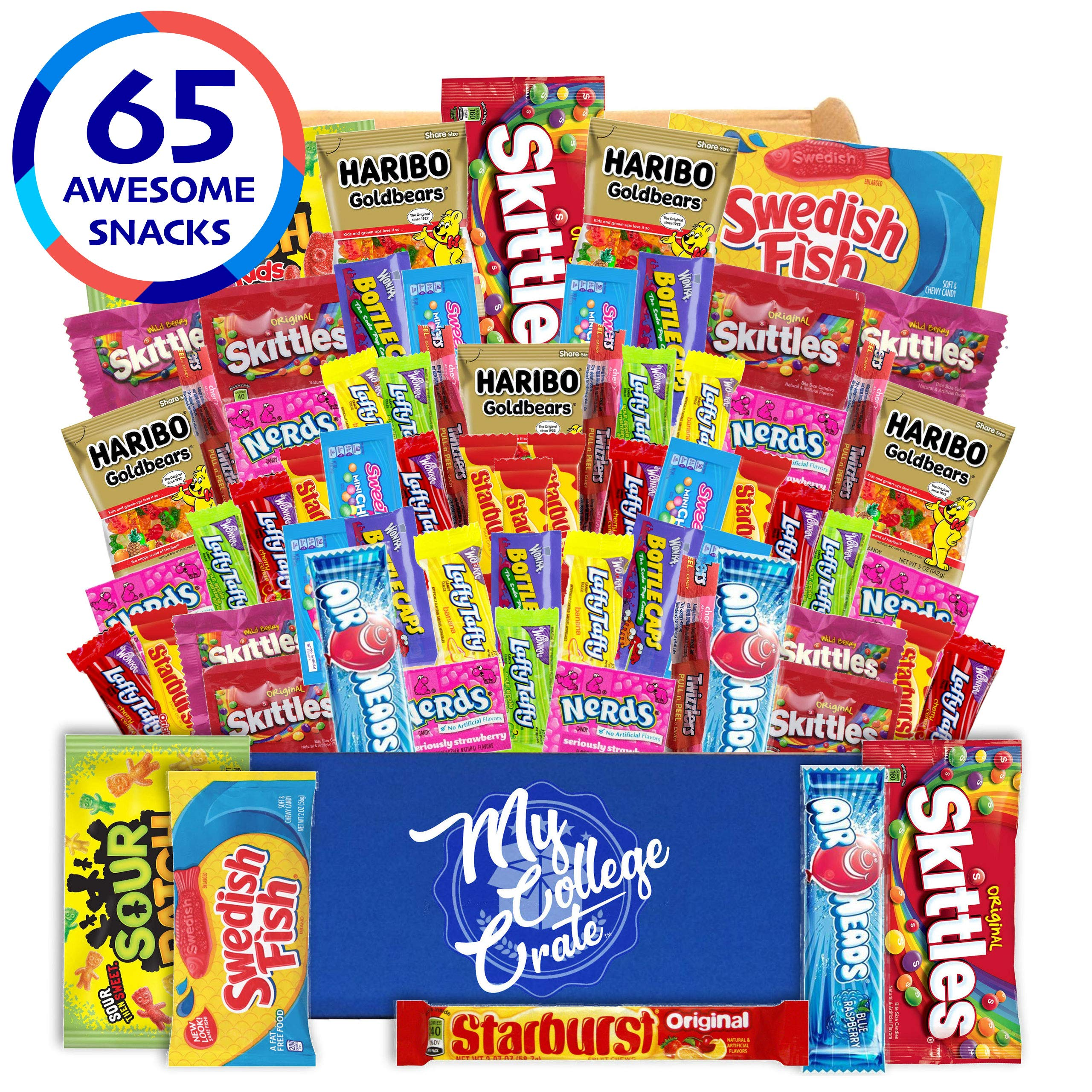 My College Crate Candy & Snack Box Ultimate Snack Care Package for College Students - 65 piece Includes 10 Full Size Candies, Candy Variety Pack, Starburst, Skittles, Sour Patch & More