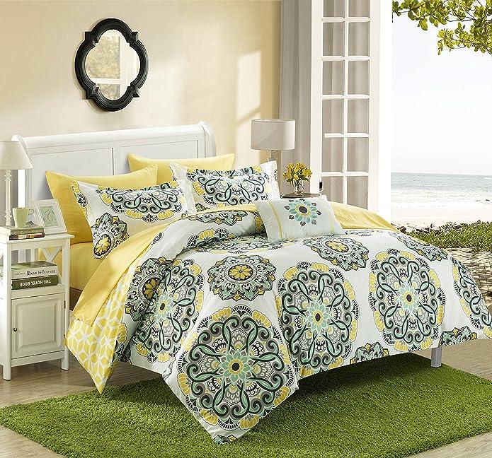 Full/Queen 8pc Catalonia Comforter Set Yellow - Chic Home Design