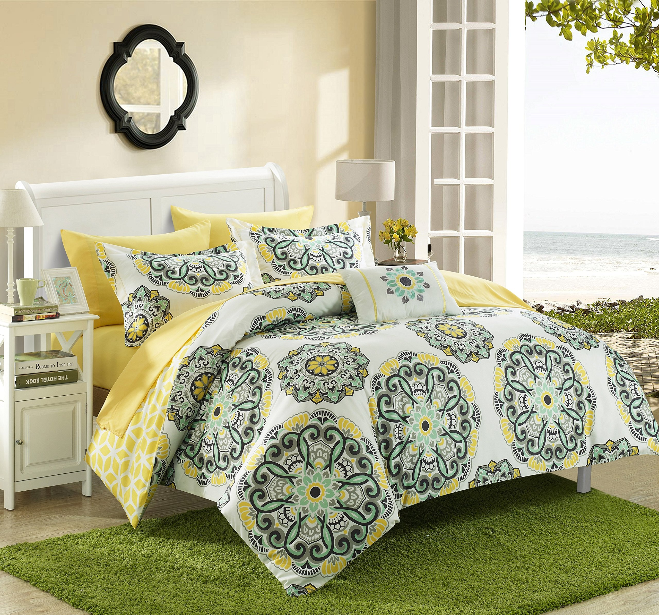 Chic Home Barcelona 6 Piece Reversible Comforter Set Super Soft Microfiber Large Printed Medallion Design with Geometric Patterned Backing Bed in a Bag with Sheet Set and Decorative Pillows Shams, Twin Yellow