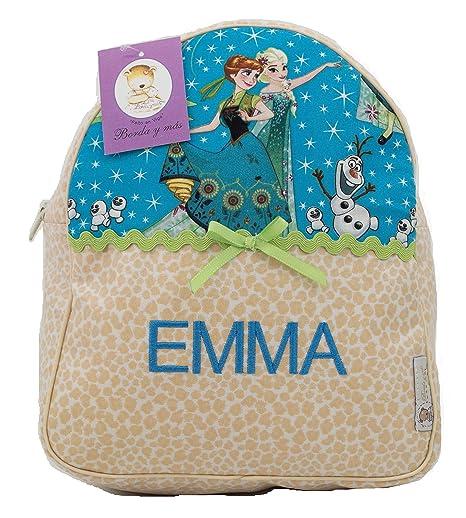 Mochila Infantil de Frozen Personalizada con Nombre en plastificado Estampado Beige: Amazon.es: Equipaje