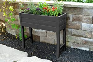 "Nuvue Products 26021, 36"" L x 15"" W x 32"" H, Polymer with Woodgrain Texture, Dark Gray Elevated Garden Box"