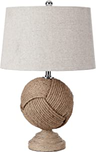 "JONATHAN Y JYL1005A Monkey's Fist 24"" Knotted Rope LED Table Lamp Cottage,Coastal,Rustic for Bedroom, Living Room, Office, College Dorm, Coffee Table, Bookcase, Brown"