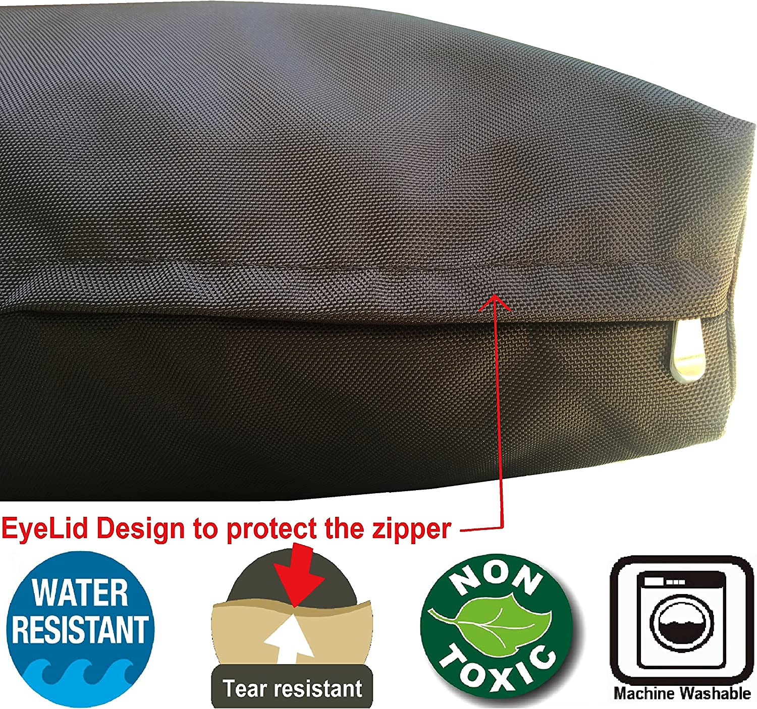 35X20X4 Inches Dogbed4less Small Medium 1680 Ballistic Chew Resistant Dog Pet Bed External Zipper Duvet Cover Replacement cover only Navy Blue