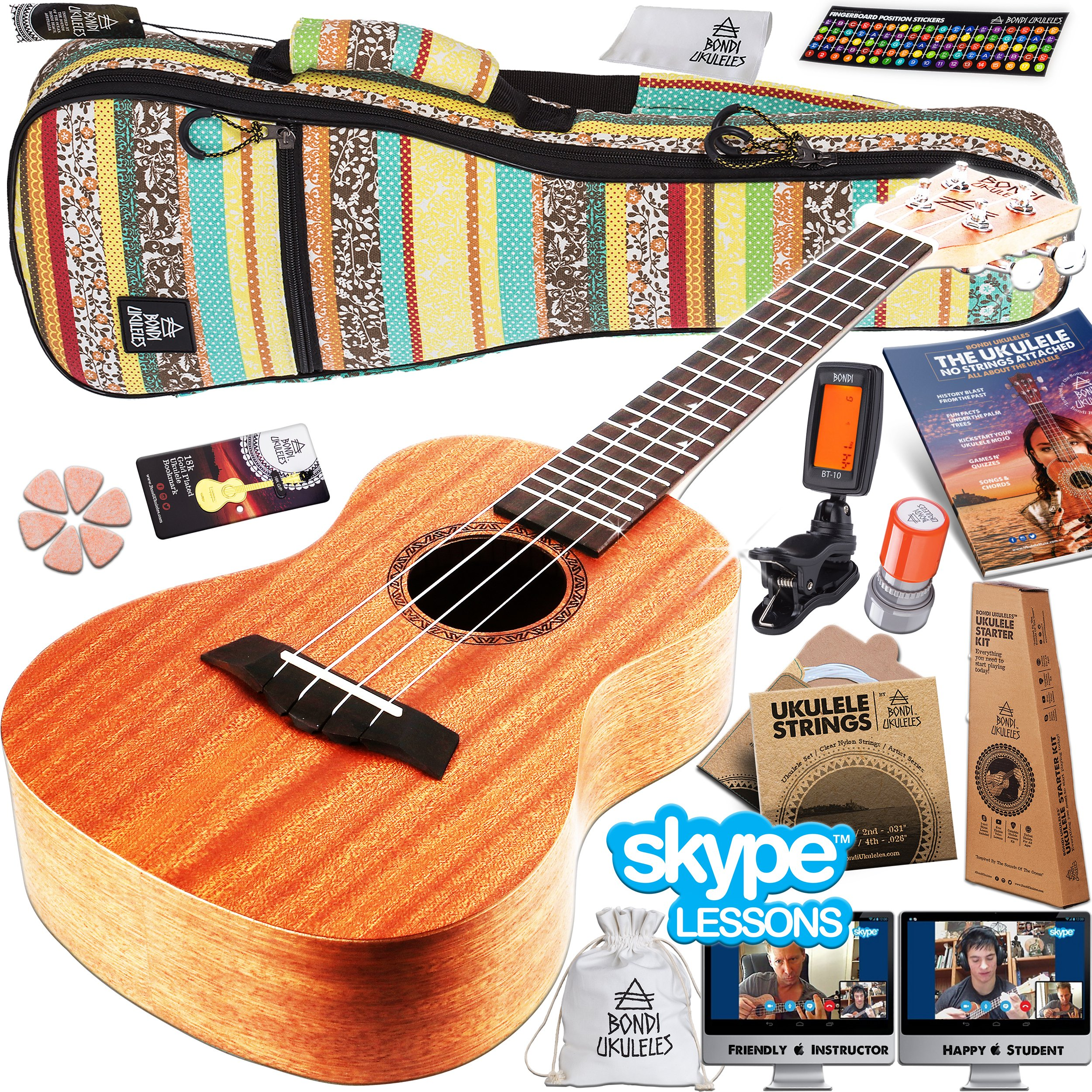 Ukulele Starter Kit (16-Piece-Set) Acclaimed Brand get Official SKYPE Lesson, Videos, Compression Case, No-Scratch Felt Picks, Clip Tuner, Chord Stamp, Poster, Strap, Strings & MORE (Amazon Exclusive)