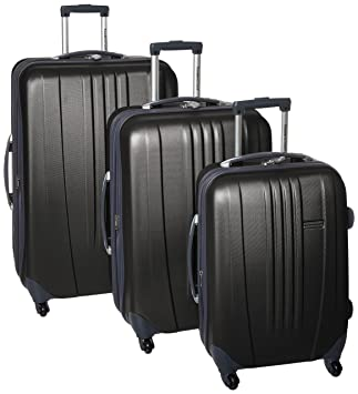 d8435947b Amazon.com | Traveler's Choice Toronto 3-Piece Hardside Lightweight  Expandable 4-Wheeled Spinner Luggage Set with Interior Divider, Black  (21