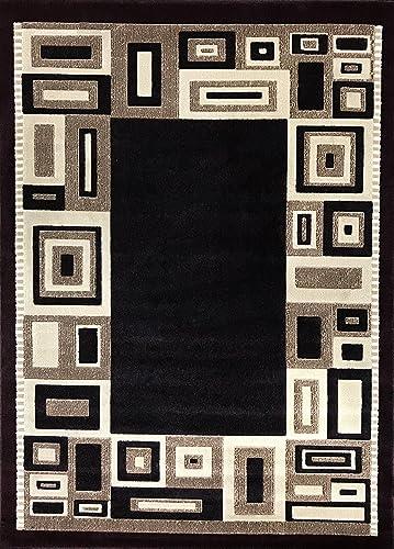Americana Modern Contemporary Area Rug Burgundy Black Geometric Design 3627 8 Feet X 10 Feet 6 Inch,