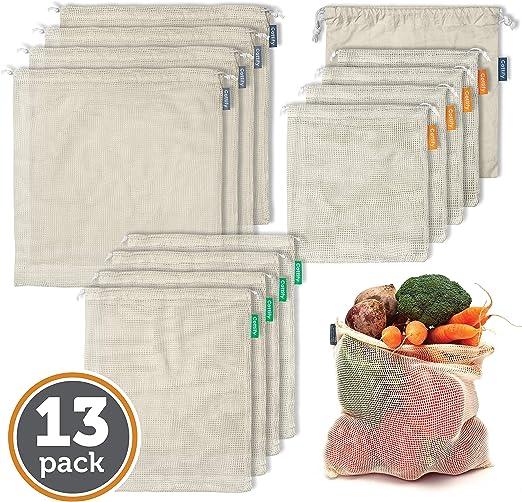12+1 Bolsas Reutilizables de Algodón Orgánico - Set de 12 bolsas y ...