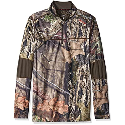 Terramar Mens Tracker Camo Fleece Quarter Zip Jacket: Clothing