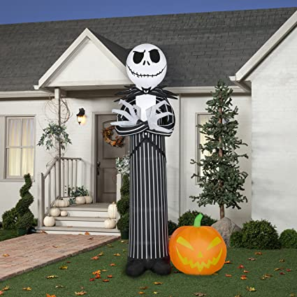 nightmare before christmas exclusive 10 ft tall jack skellington air blow up - Nightmare Before Christmas Inflatable Lawn Decorations
