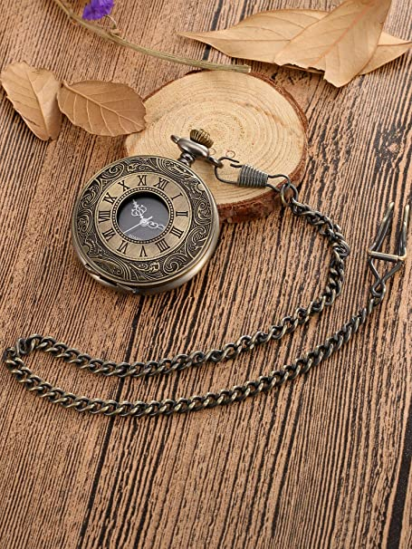 Victorian Men's Clothing, Fashion – 1840 to 1890s Mudder Vintage Roman Numerals Scale Quartz Pocket Watch with Chain $12.99 AT vintagedancer.com