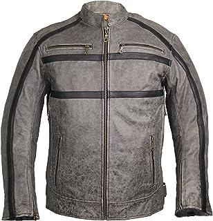 MDM Giacca in pelle da motociclista, da uomo, colore: grigio/nero grigio Grau Medium