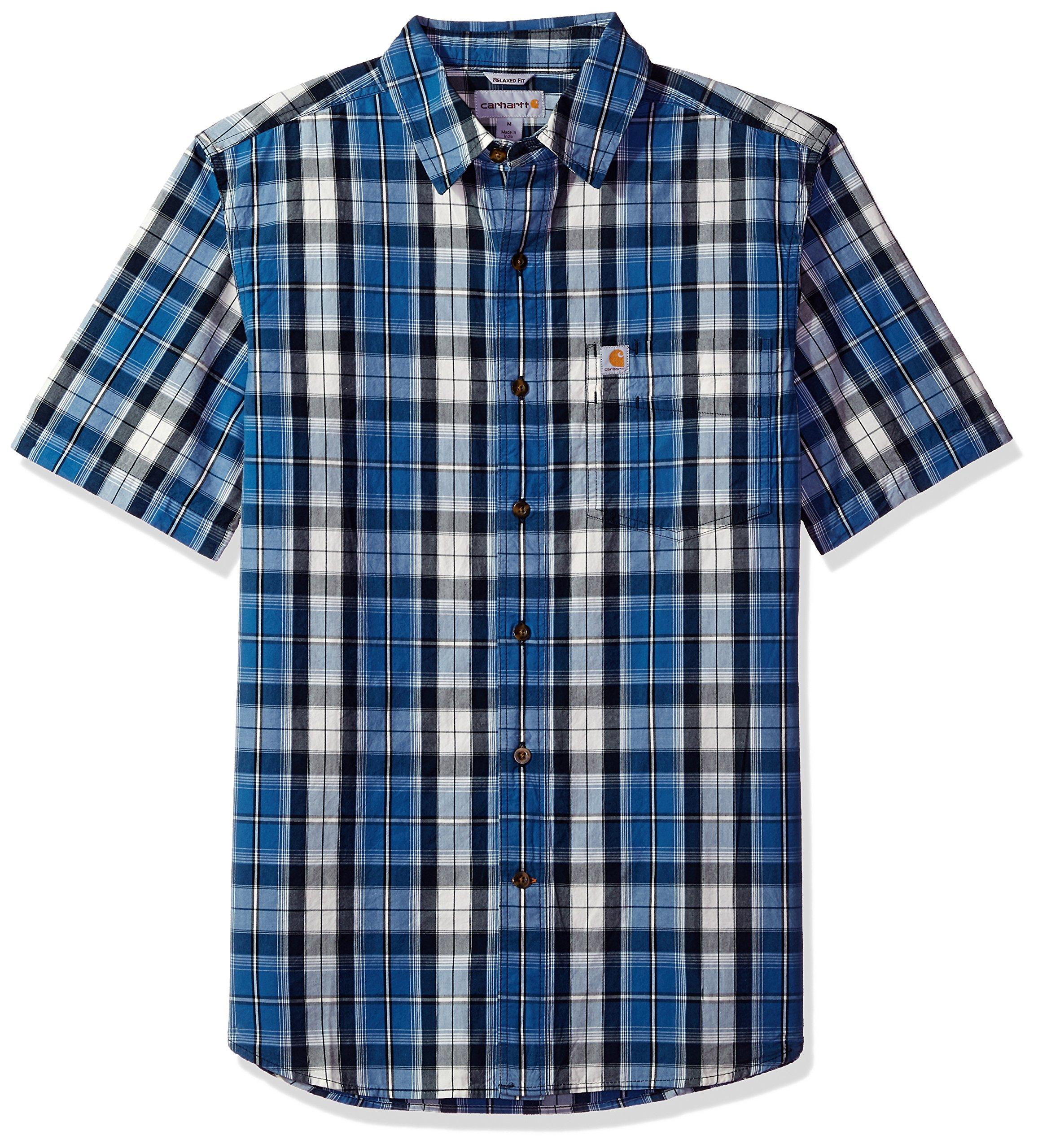 Carhartt Men's Essential Plaid Open Collar Short Sleeve Shirt, Federal Blue, X-Large