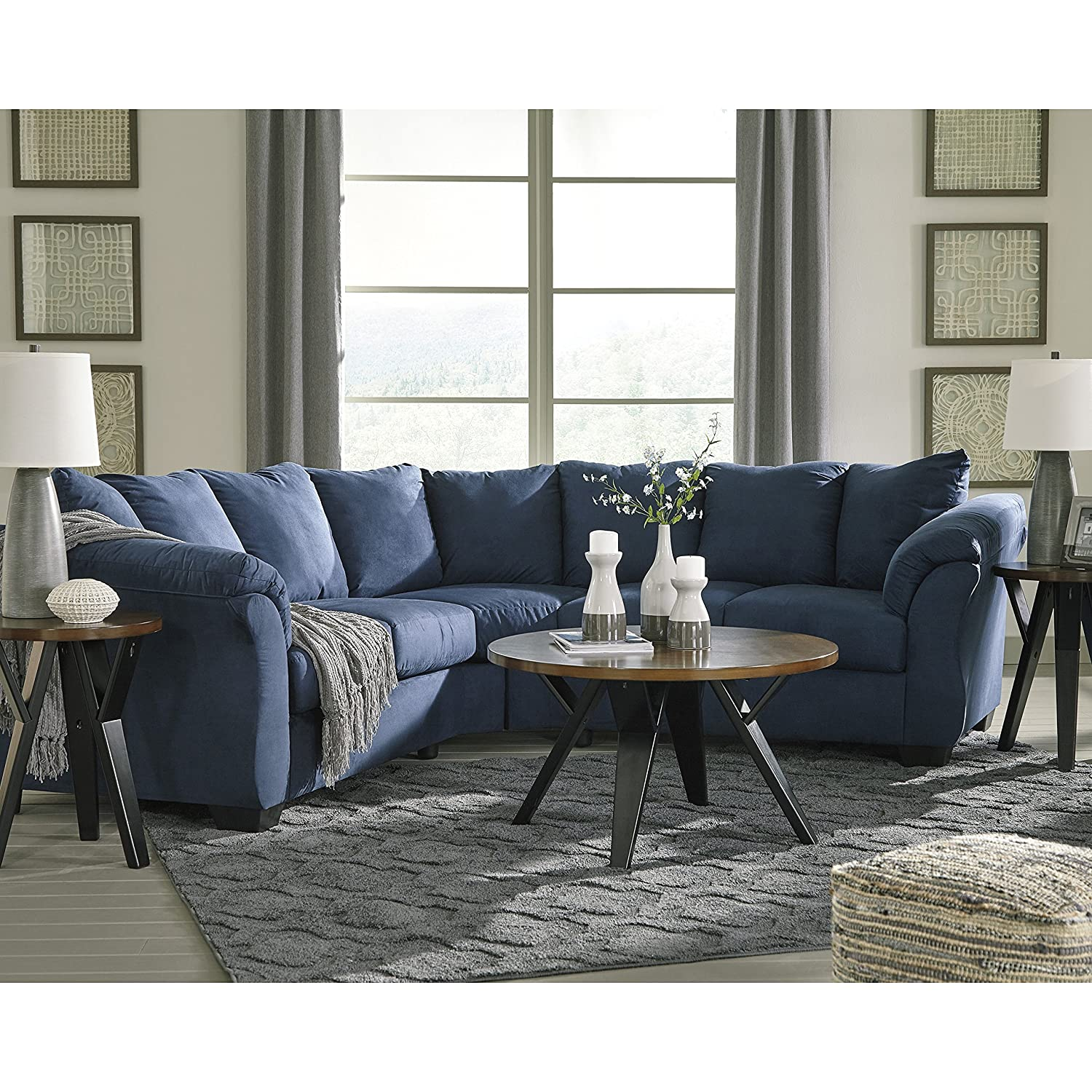 Amazon com flash furniture signature design by ashley darcy sectional in blue microfiber kitchen dining