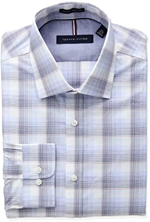 a01365dd Tommy Hilfiger Men's Non Iron Slim Fit Plaid Buttondown Collar Dress Shirt  at Amazon Men's Clothing store: