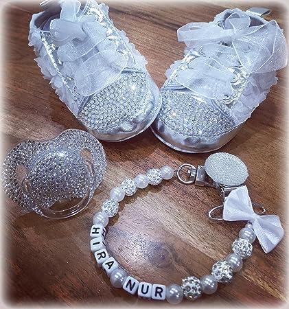 Luxus Set de regalo con nombres, Chupete, zapatos de strass, cadena con nombres, regalo Bautizo, de felicitación de nacimiento, Baby Set boda ...