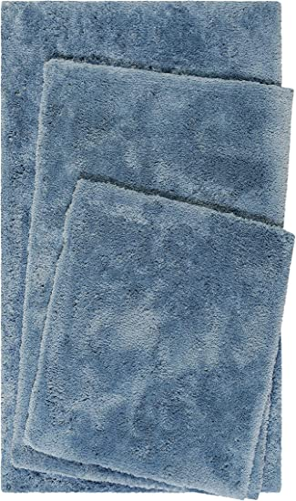 Homie Living Badteppich 55 x 65 cm, Dunkel Blau Badematte kuscheliger Flauschiger weicher Flor l rutschfest und Waschbar Porto Azzurro