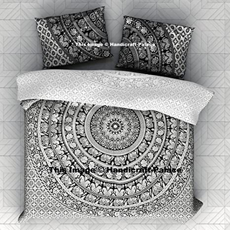 Black and White Elephant Mandala KING Quilt Duvet Doona Cover Set Pillow Covers