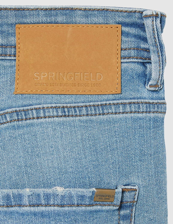 Springfield FRQ Bermuda Denim Calidos Negra-c//01 Pantalones Hombre