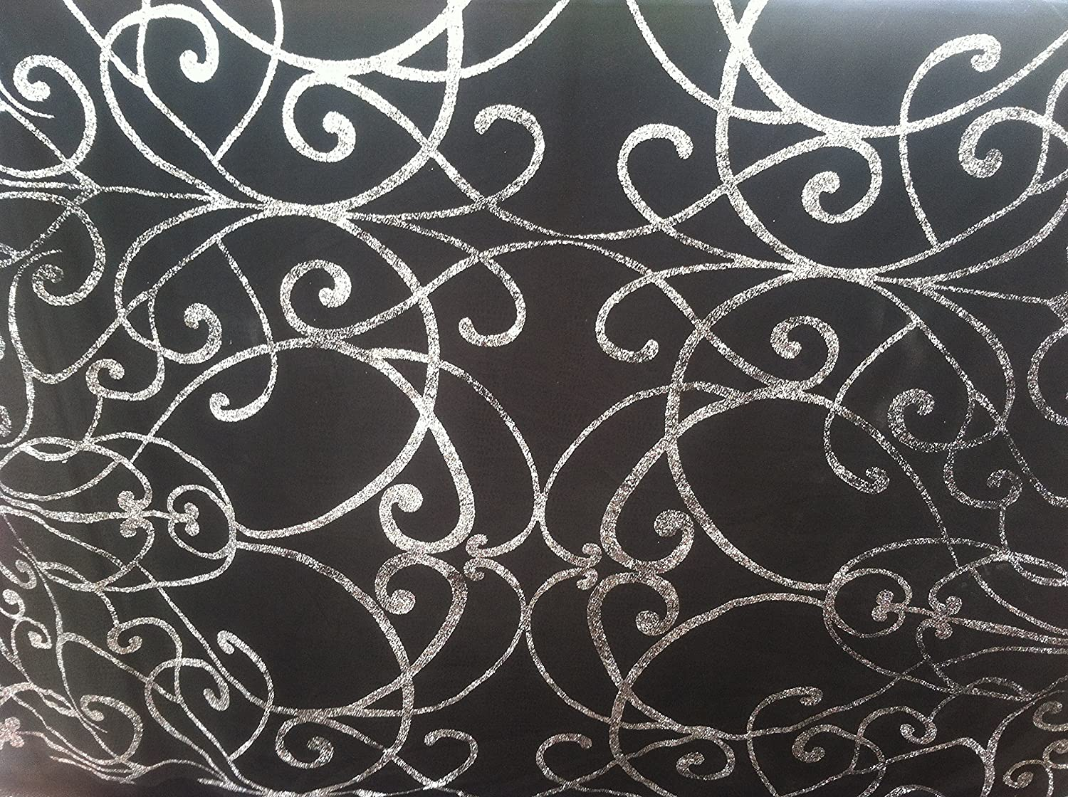 Fancy Sequence Fabric 2.40 Black Yards 39 Width Crafts Clothing Bridal