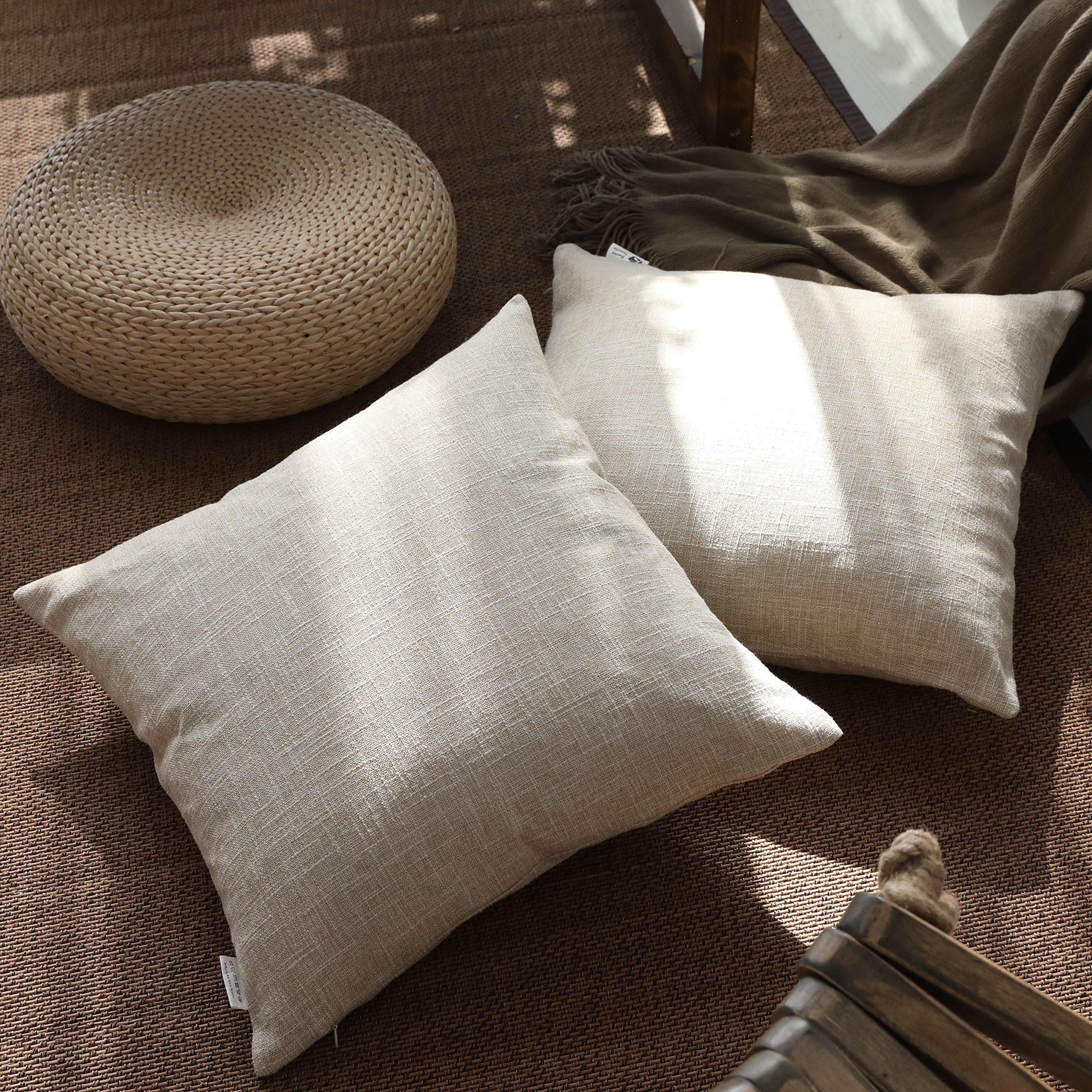 Kevin Textile Decor Lined Linen Pillow Cover Euro Throw Pillowcase Cushion Cover Pillow Sham for Sofa, Hidden Zipper, 18''x18''(2 Pieces, Natural Linen)