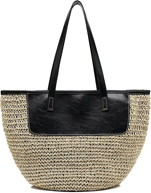 b840801fa180 Straw Tote Handbags for Women Beach Bags Woven Straw Purses Shoulder Bags  for Girls Summer Outfits