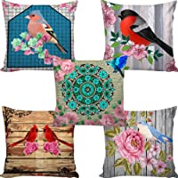 B7 Creations Digital Printed Polyester(Canvas) Cushion Cover Set of 5 16x16 inches/40x40 cms